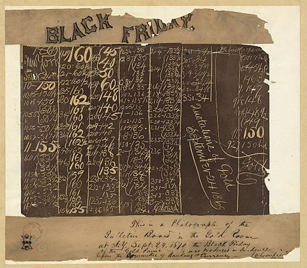 Garfield's handwriting on evidence used during the Gold Panic investigation in 1870 Black Friday 1869.jpg