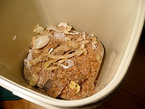 English: Inside of a Bokashi composting bin. F...
