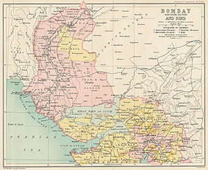Sind Division - 1909 map showing the northern Bombay Presidency and Sind