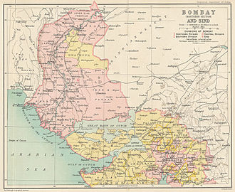 Bombay Presidency - The Bombay Presidency in 1909, northern portion