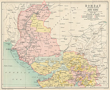 English: Bombay Presidency and Karachi, southe...