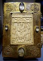 Book cover of a lectionary, Stiftskirche St. Martin, ivory perhaps from Arles, 449 AD, surround from Luttich, c. 1270, ivory, gilt copper - Hessisches Landesmuseum Darmstadt - Darmstadt, Germany - DSC00331.jpg