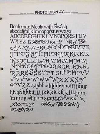 Bookman (typeface) - Meola's Bookman, showing its extremely large range of ostentatious swash characters.