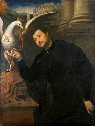 Jacopo Caraglio - Caraglio receives a medallion (probably made by himself) from the Polish Royal Eagle, Paris Bordone, 1552