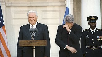 Humour - Boris Yeltsin and  Bill Clinton enjoying a joke, in spite of their language differences