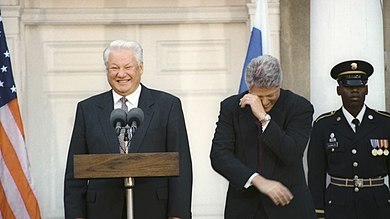 U.S. President Bill Clinton and Russian President Boris Yeltsin in the White House, October 1995. Boris Yeltsin with Bill Clinton-1.jpg