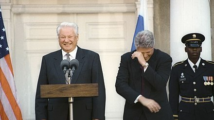 Boris Yeltsin and Bill Clinton share a laugh in October 1995. Boris Yeltsin with Bill Clinton-1.jpg