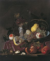 Nature morte de fruits, raisins, grenades et