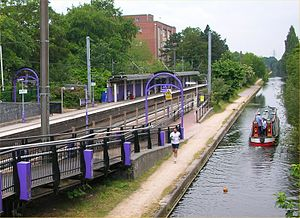 Bournville railway station and Worcester and Birmingham Canal.jpg