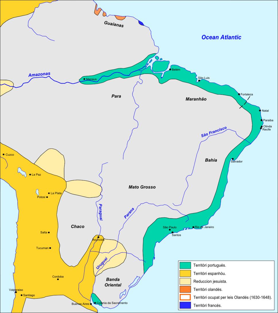 Brasil - Colonizacion vèrs 1690