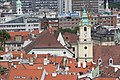 Bratislava, view from the castle hill to the Jesuit church.JPG