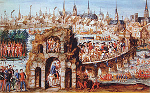 """Tupinambá people - """"Brazilian ball"""" for Henry II of France in Rouen, 1 October 1550. 300 naked men were employed to illustrate life in Brazil and a battle between the Tupinambá allies of the French, and the Tabajara Indians."""