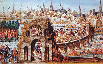 "Tupinambá people - ""Brazilian ball"" for Henry II of France in Rouen, 1 October 1550. 300 naked men were employed to illustrate life in Brazil and a battle between the Tupinambá allies of the French, and the Tabajara Indians."