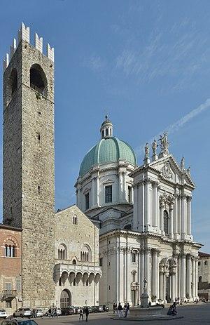 Baroque cathedral and medieval civil building (Broletto) in Brescia