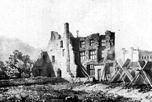 Bridgwater Castle - Remains of the mansion on the site of the castle keep — mid C18. A lithograph after a painting by John Chubb (1746–1818)
