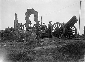 British 6-inch howitzer at Pilckem Sept 1917 IWM Q 2751