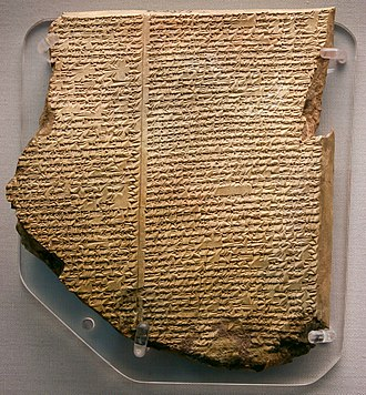 "George Smith (Assyriologist) - ""The Flood Tablet"", the eleventh tablet of the Gilgamesh Epic describes how the gods sent a flood to destroy the world. Like Noah, Utnapishtim was forewarned and built an ark to house and preserve living things. After the flood he sent out birds to look for dry land (British Museum)."