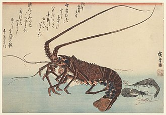 Arthropods in culture - Crayfish and Two Shrimps by Utagawa Hiroshige, 1835-1845