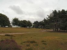 the tent camping site, a meadow with trees in the background and a path running diagonally from the lower left to the upper right