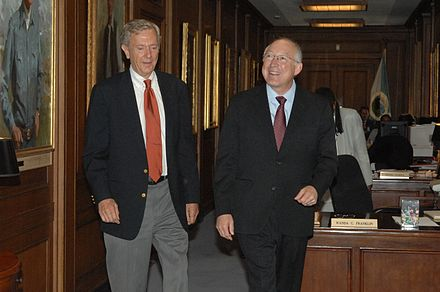 Babbitt with then-Secretary of the Interior Ken Salazar at the Department's headquarters in Washington, D.C. Bruce Babbitt and Ken Salazar.jpg