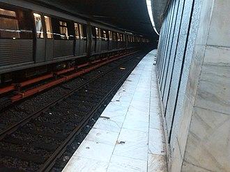 Bucharest Metro - Platform of a Bucharest Metro station