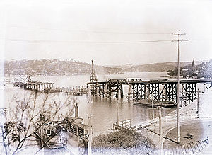 Spit Bridge - Construction of The (first) Spit Bridge in 1924. The punt may be seen in bottom left foreground.