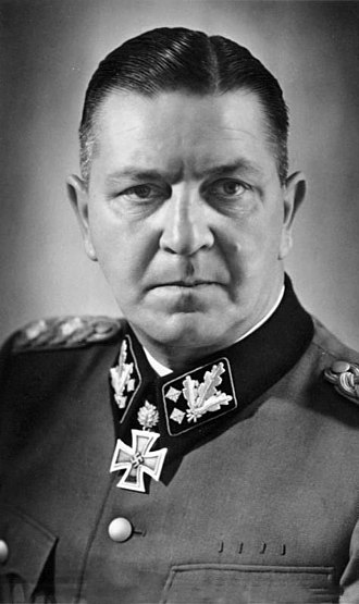 Gottlob Berger - The Inspector of Concentration Camps, SS-Gruppenführer Theodor Eicke (pictured as a SS-Obergruppenführer) was appointed to command the new SS-Division-Totenkopf, which was formed using personnel from the SS-TV