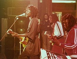 Peter Tosh (left) on the Bush Doctor tour in 1978, with Al Anderson (guitar) and Robbie Shakespeare (bass)