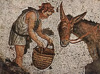 Scene from daily life on a mosaic from the Great Palace of Constantinople, 5th century