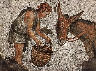 Scene from daily life on a mosaic from the Great Palace of Constantinople, early 6th century Byzantinischer Mosaizist des 5. Jahrhunderts 002.jpg