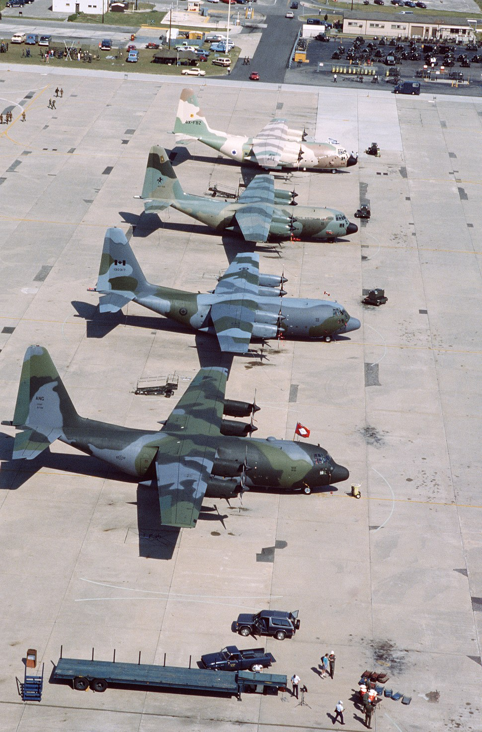 C-130s from four nations at Pope AFB 1987.JPEG