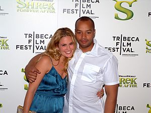 Donald Faison - Faison with second wife Cacee Cobb at the 2010 Tribeca Film Festival.