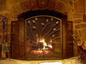 Photo of a stone fireplace.
