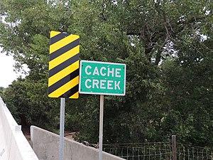 Cache Creek (Oklahoma) - State of Oklahoma sign designating Cache Creek