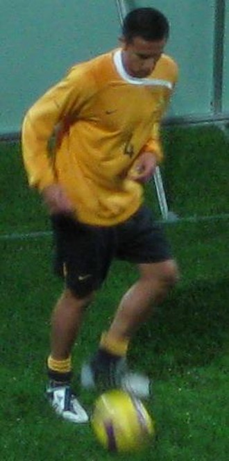 Tim Cahill - Cahill warming up before a FIFA World Cup qualifier against Qatar, in Brisbane, on 15 October 2008.