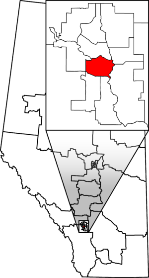 Calgary Centre - Calgary Centre in relation to other Alberta federal electoral districts as of the 2013 Representation Order.