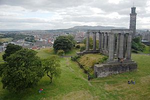 Kite aerial photography - Kite aerial photograph of Calton Hill, Edinburgh