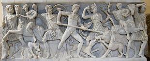 Meleagro e Atalanta cacciano il cinghiale di Calidone - sarcofago romano - Palazzo dei Conservatori Roma