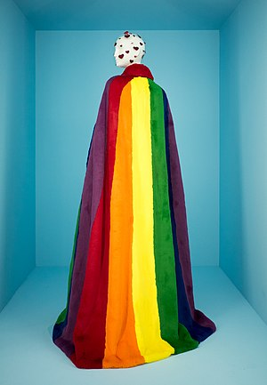 Rainbow cape by Christopher Bailey/Burberry, Camp: Notes on Fashion at The Metropolitan Museum of Art