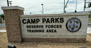 Parks Reserve Forces Training Area - Camp Parks sign in 2016