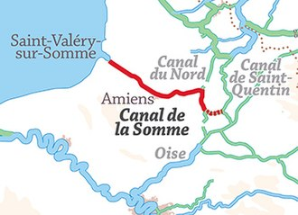 Canal de la Somme - Location of Canal de la Somme, showing the upstream section disused; middle section shared with Canal du Nord