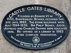 Photo of Edward VI, Charles Darwin, Shrewsbury Library, and Shrewsbury School black plaque