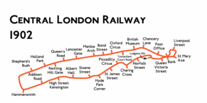 Route diagram showing the railway as an enlongated, narrow loop with roughly parallel lines running from Shepherd's Bush at left to Bank at right with a loop starting and ending at Bank via Liverpool Street