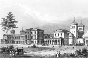 Hannover Hauptbahnhof - Central station in about 1850 (steel engraving)