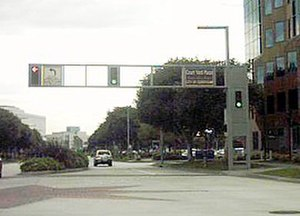 Cerritos, California - The Towne Center has special traffic light gantries.