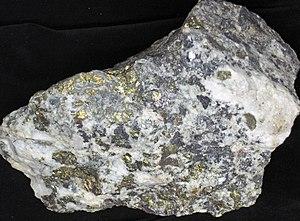San Juan volcanic field - Chalcopyrite−quartz rock specimen, from Idarado Mine in San Juan Volcanic Field.
