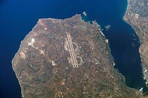 Akrotiri, Crete - Satellite view of the Akrotiri peninsula. Chania Airport shown in centre