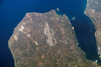 Akrotiri, Crete - Satellite view of the Akrotiri peninsula. Chania Airport shown in centre