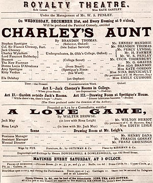 Charley's Aunt - Programme for the original London production