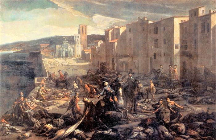ペストによって死屍累々となった街を描いたヨーロッパの絵画